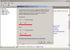 Configuração reforçada do internet explorer