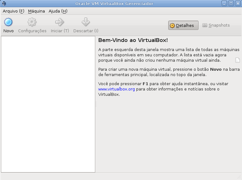 Tela Inicial Virtualbox