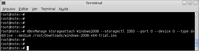 Adicionando ISO a VM