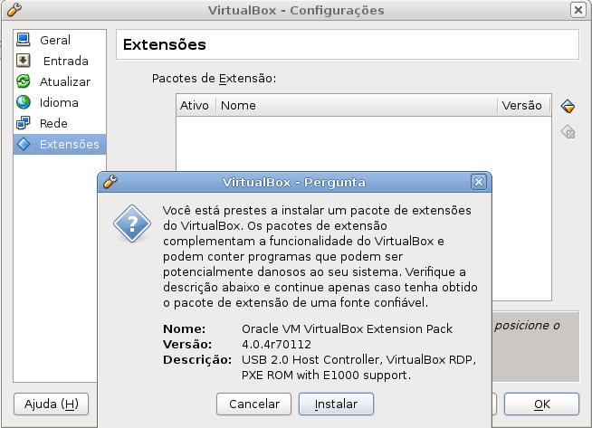 Virtualbox Extensões